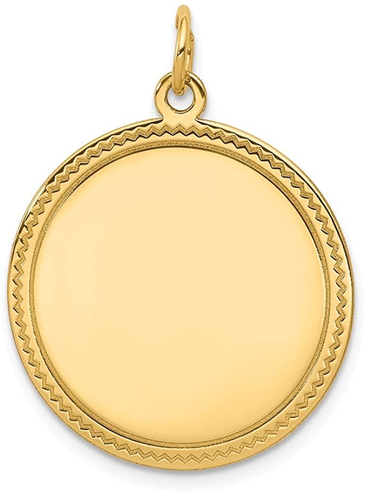 14K Yellow Gold Plain .035 Gauge Engravable Round Disc Charm
