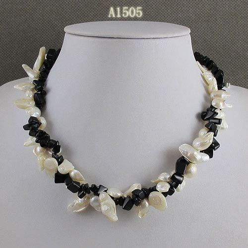Davitu Necklaces - Unique Pearls Jewellery Store,Black Agates White Color Baroque Real Freshwater Pearl Necklace,Charming Women Gift Jewelry