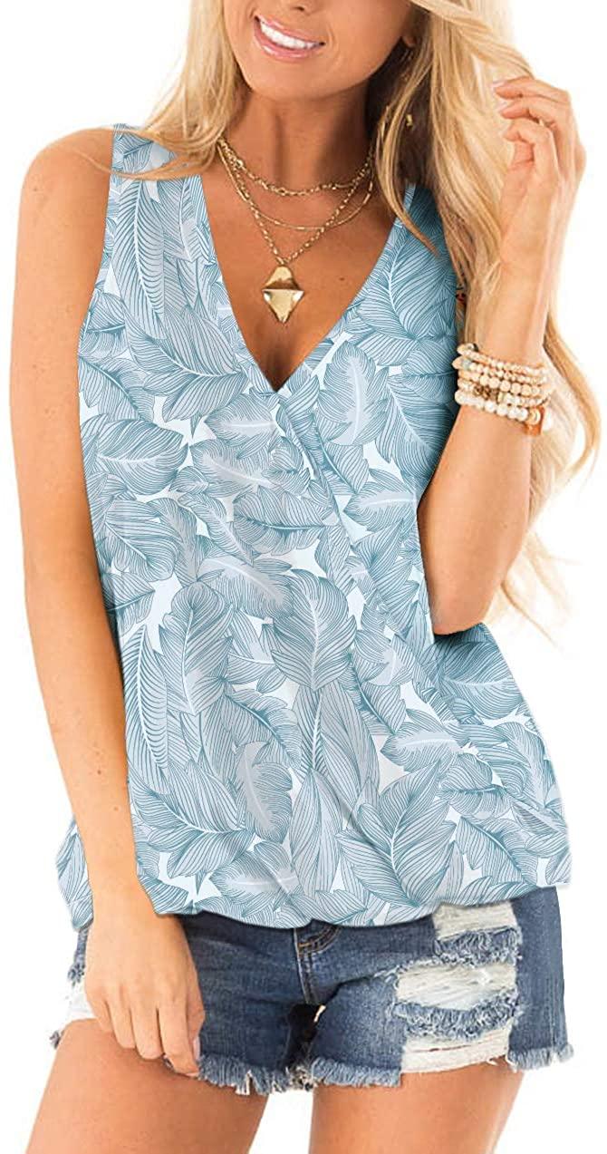 NSQTBA Womens Summer V Neck Wrap Front Sexy Cute Tank Tops Sleeveless T Shirts