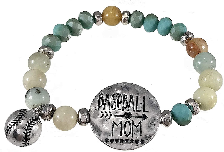 Wonderent Play Ball! Baseball MOM Bead Strech Bracelet with Cute 3D Baseball Charm