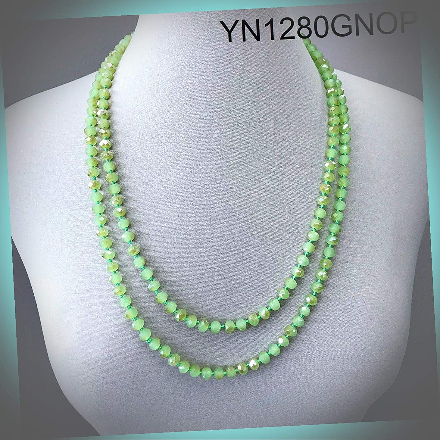 New Long Wrap Around Knotted Green Beaded Style Statement Wonderful Necklace ALI-N1624E Gift for Women Girls Charm Necklace by InnaBest
