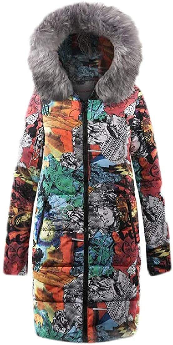 Wndxfhdscd Womens Down Coat Faux Fur Hood Print Down Parka Puffer Jacket