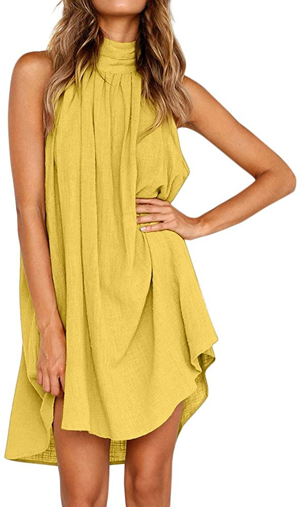 TWGONE Halter Dresses for Women Casual Summer Holiday Irregular Ladies Summer Beach Sleeveless Party Dress