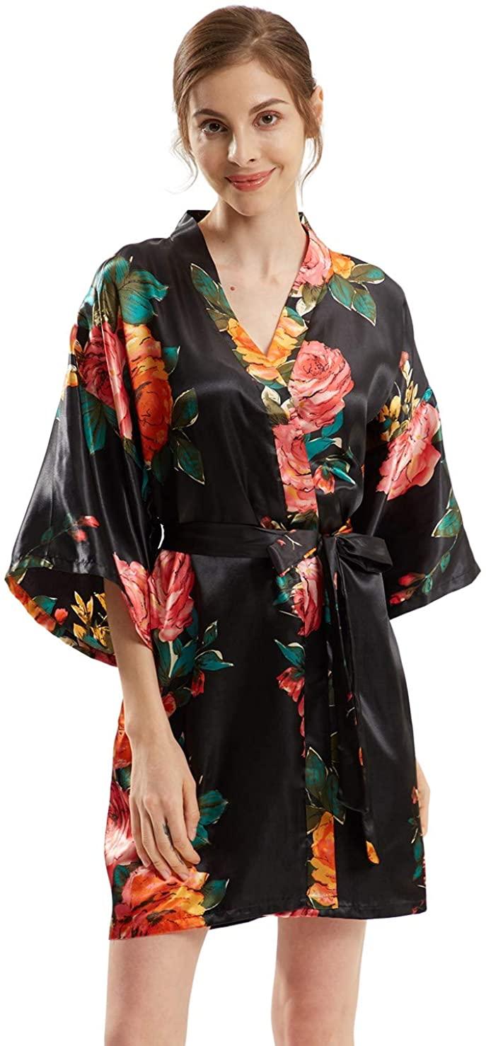 Sunyan Women's Short Peony Floral Kimono Robes Loungewear Bride Bridesmaid Party Robe Bathrobes for Women