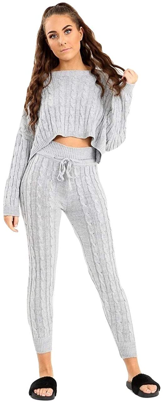 Cima Mode Womens Ladies Cable Knitted Co-ord Bottoms Cropped Top Suit Loungewear Tracksuit