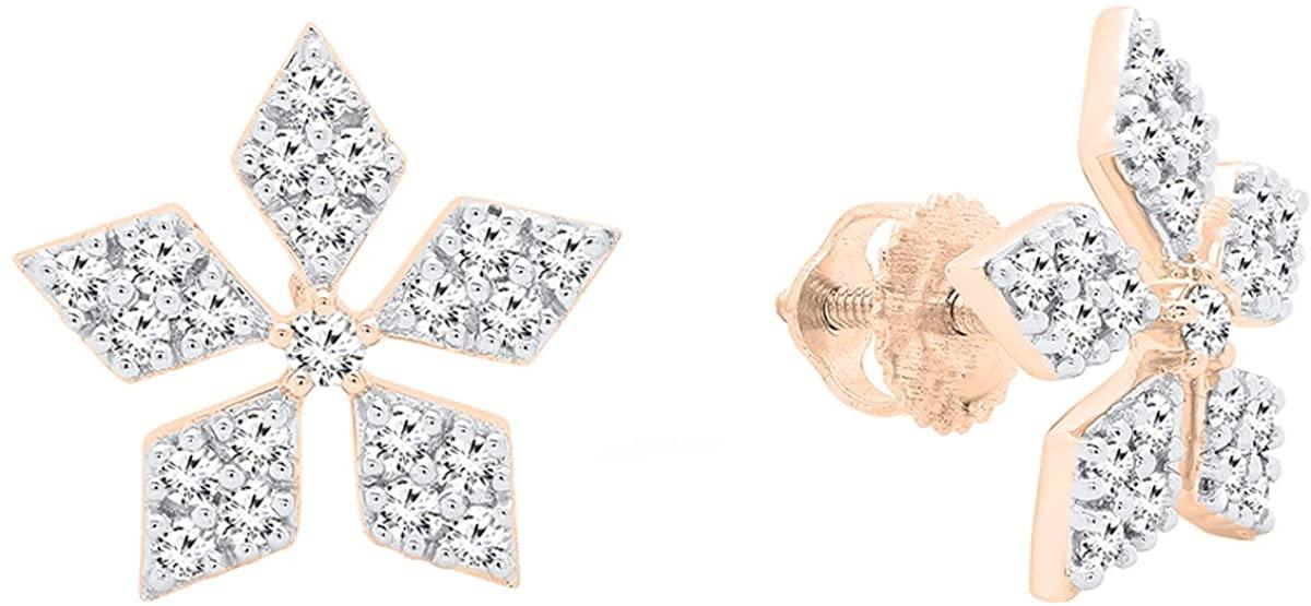 Dazzlingrock Collection 0.65 Carat (ctw) 14K Gold Round Cut White Diamond Ladies Flower Shape Stud Earrings