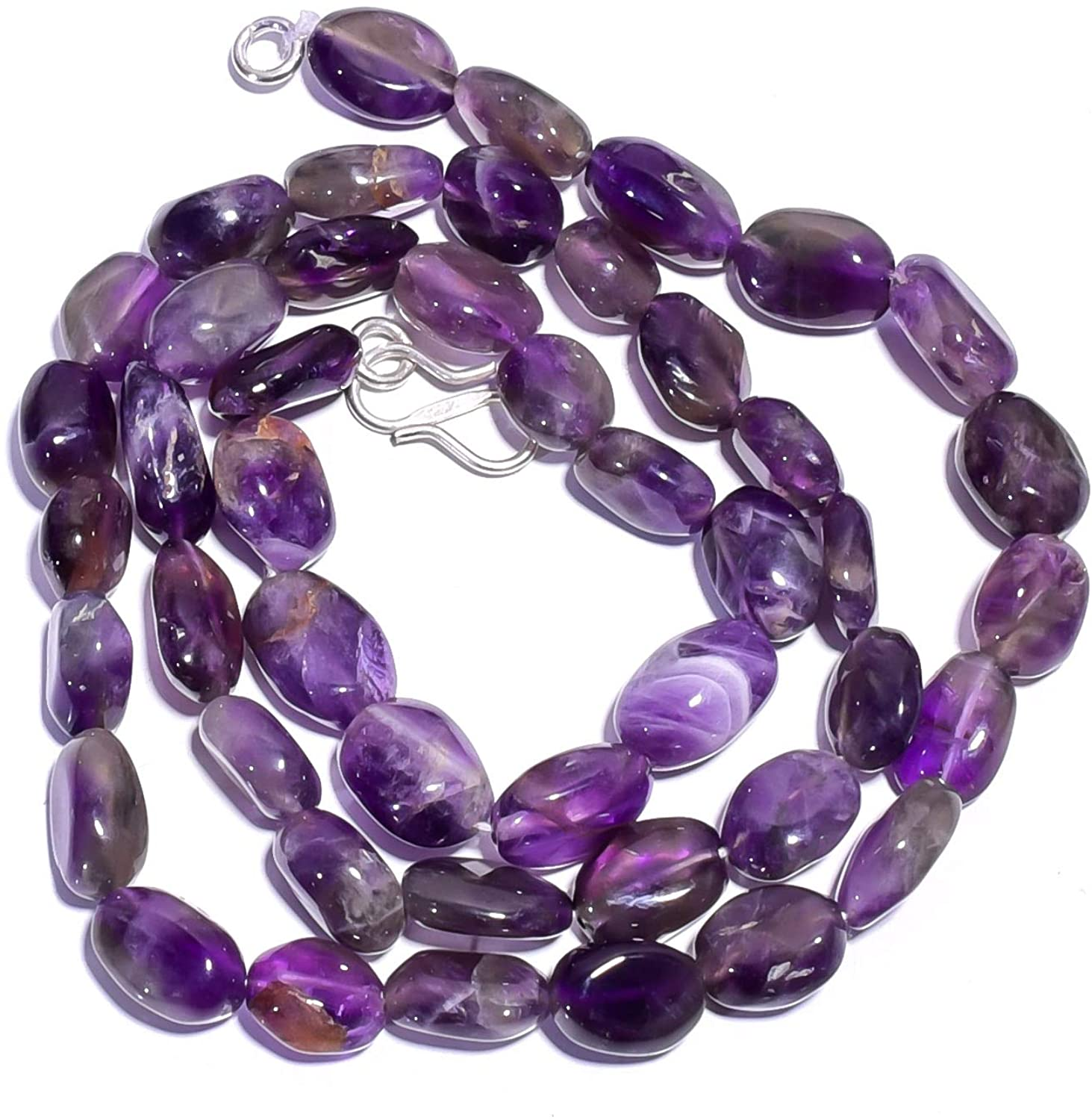 Unique Beads Natural Chevron Amethyst Gemstone Oval Smooth Beads Necklace 17