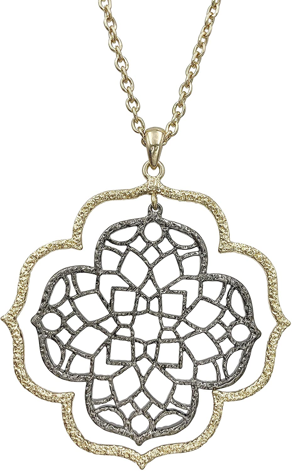 Long Filigree Swirl Large Pendant Outline 2-Tone Mixed Metal Chain Necklace