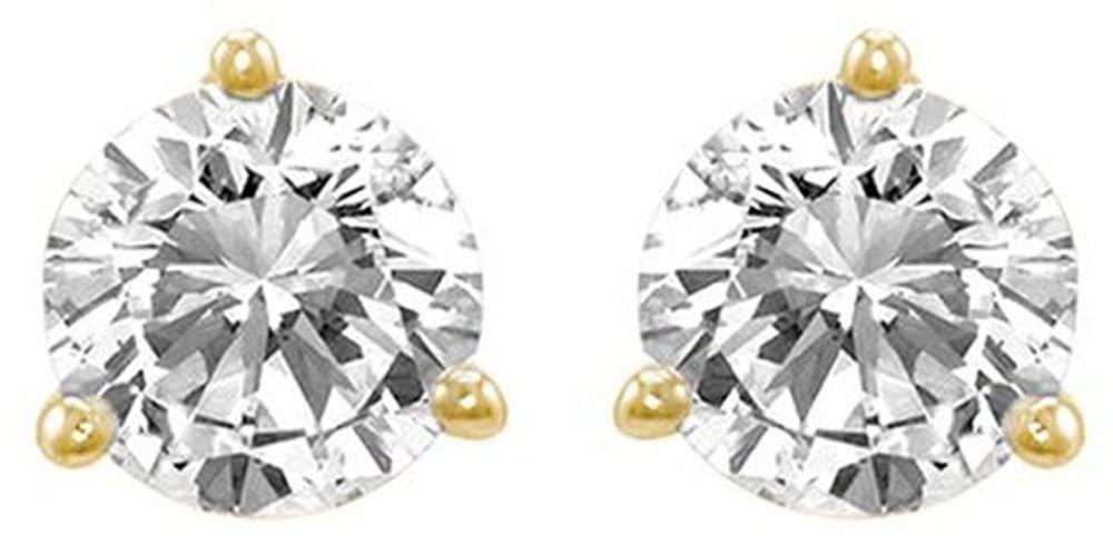2/3 Carat Ideal Cut Diamond Stud Earrings 14K Yellow Gold Round Brilliant Shape 3 Prong Push Back (J-K Color, VS2-SI1 Clarity)