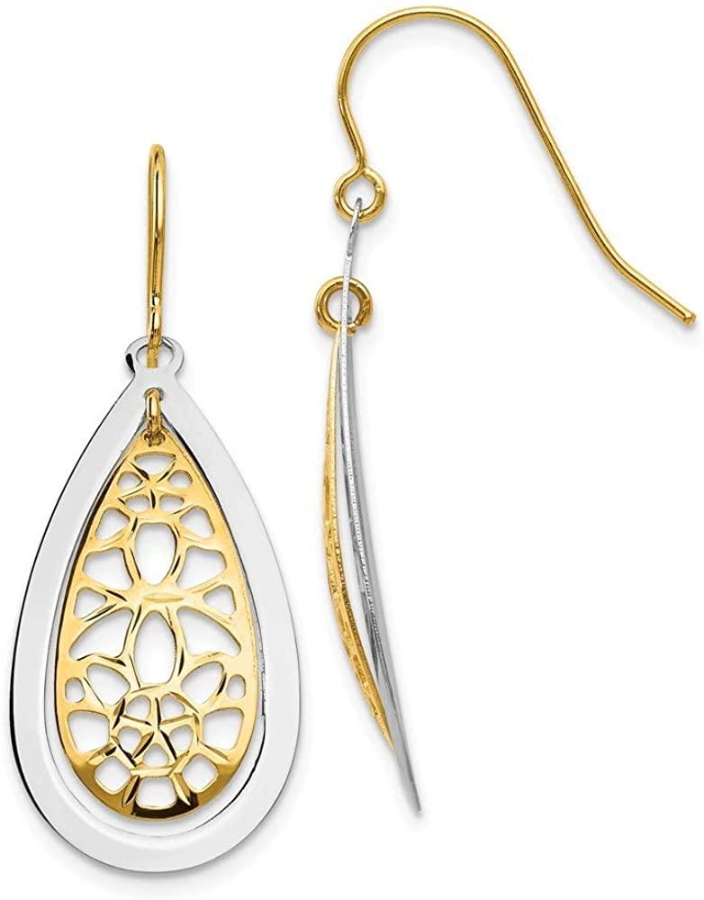 14k Two Tone Open back Shepherd hook Gold Sparkle Cut Polished Fancy Long Drop Dangle Earrings Jewelry Gifts for Women