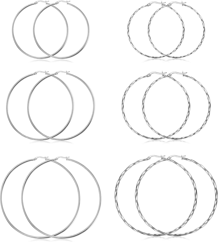 Hanpabum 6 Pairs 2 Style Big Hoop Earrings Set Stainless Steel Big Hoop Earrings for Women Twisted Hoop Earrings Set 50MM.60MM.70MM