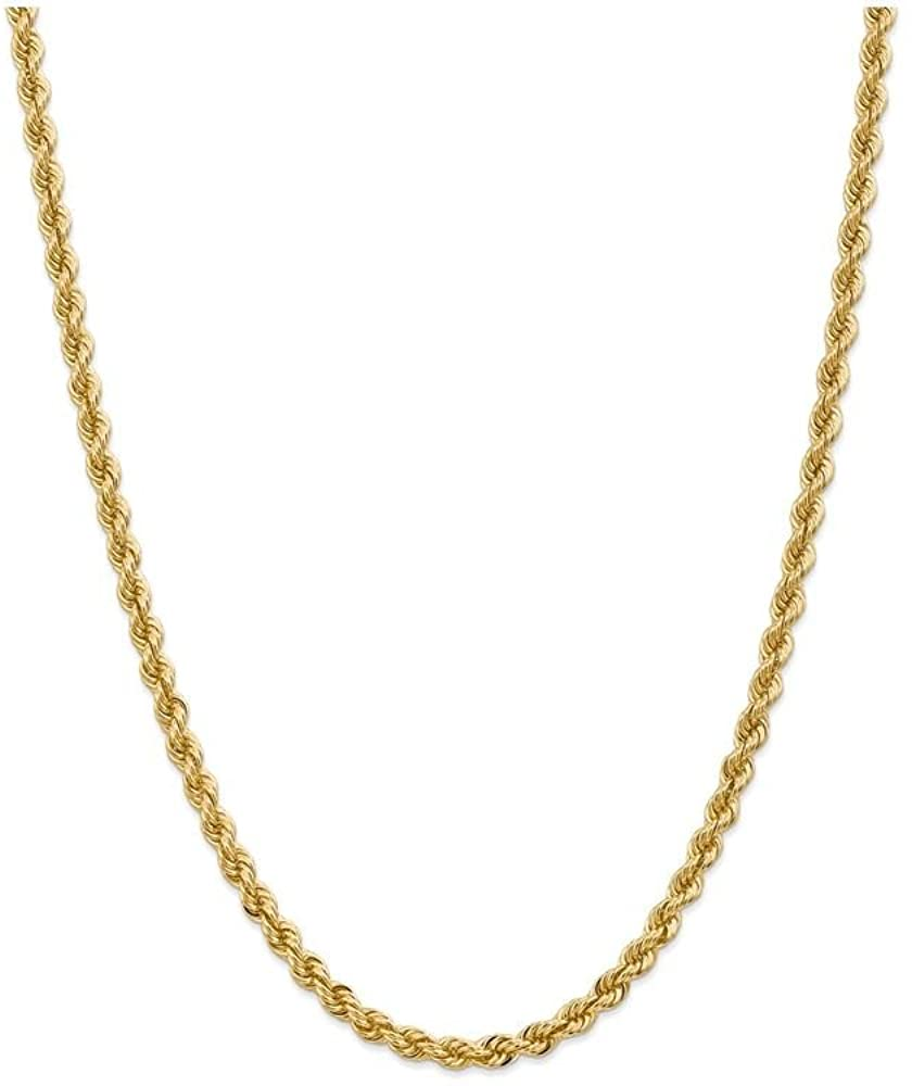 Finejewelers 9 Inch 14k Yellow Gold 5mm Handmade Regular Rope Chain Ankle Bracelet (Smaller Ankles)