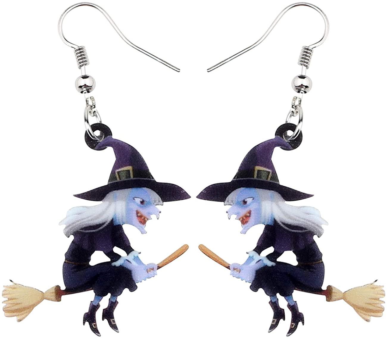 NEWEI Acrylic Animal Sweet Halloween Broomstick Witch Earrings Drop Dangle Fashion Jewelry for Women Girls Teens Gift Charms