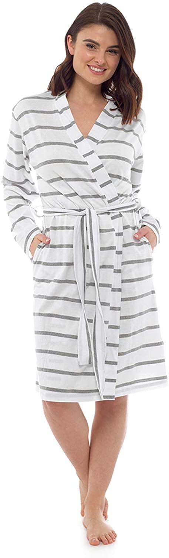 Lora Dora Womens 100% Cotton Waffle Bathrobe Duvet Day Grey Striped UK 12-14
