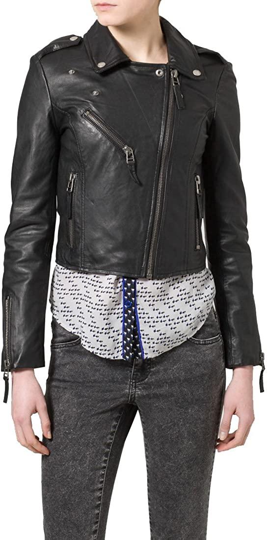 Genuine Soft Lambskin Leather Jacket for Women's Designer Wear NLT075 - S Black