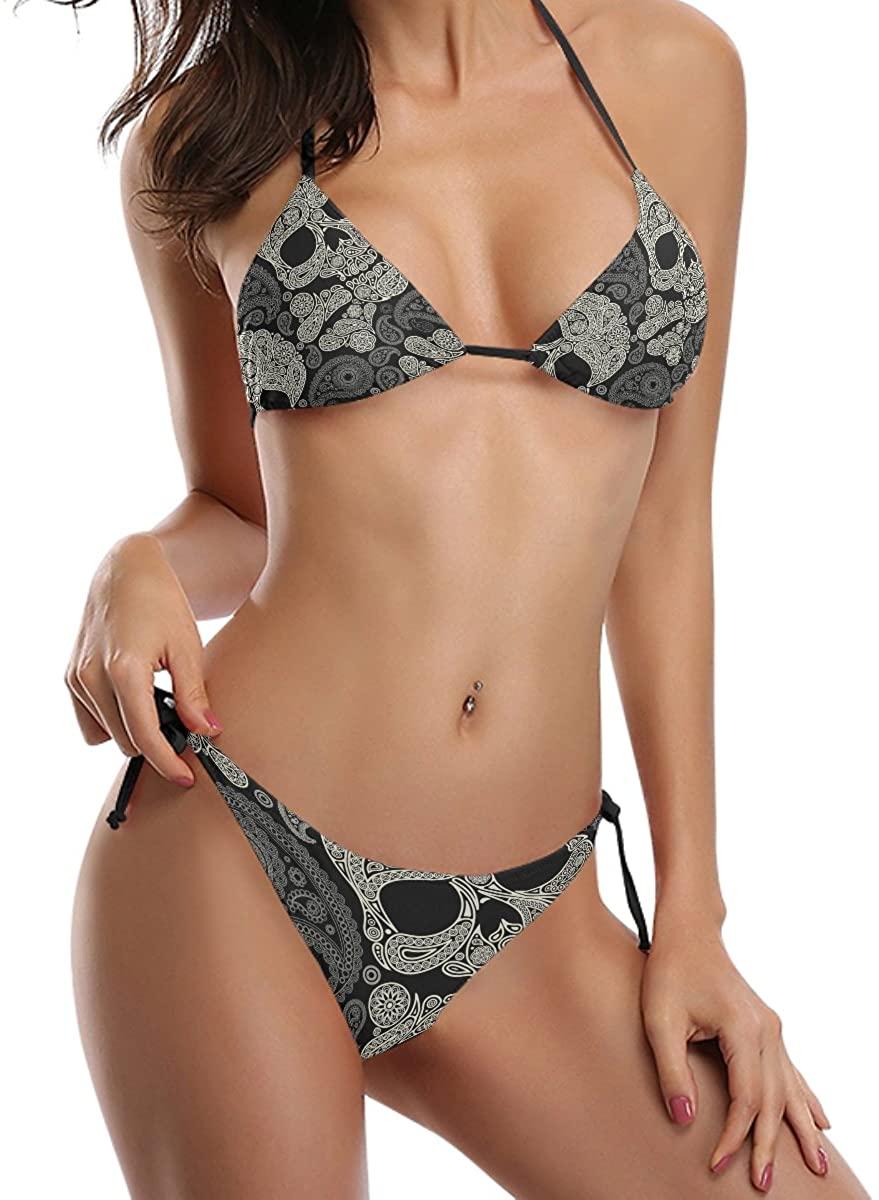 YZGO Paisley Pattern Day of The Dead Skull Printed Swimsuit Swimwear 2pcs Sexy Halter Neck Tie Side Bikini Set