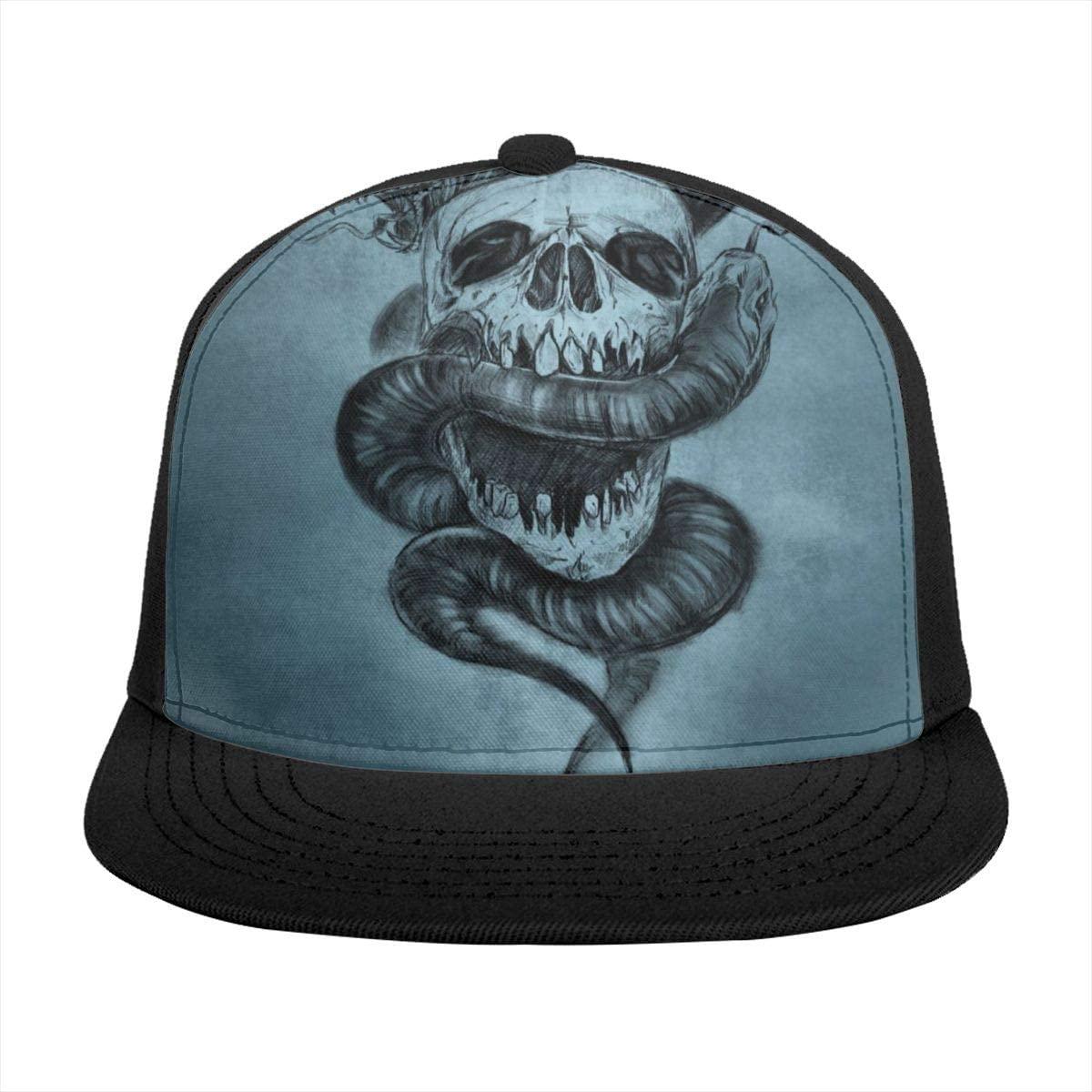 Baseball Cap Amazing Snake with Skull Sun Visor Flat Brim Hats Cap for Women Men Summer