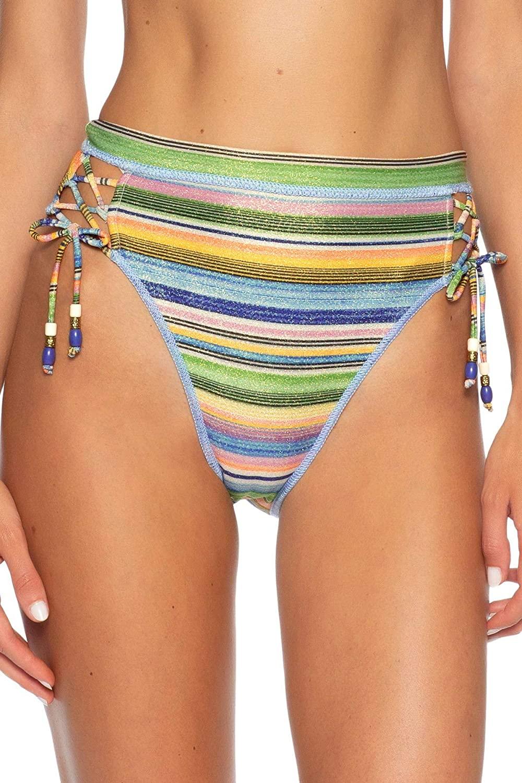 Becca by Rebecca Virtue Women's Danielle Metallic High Leg Bikini Bottom