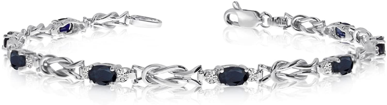 14K White Gold Oval Sapphire Stones And Diamonds Tennis Bracelet, 7
