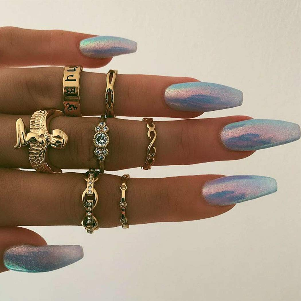 Fstrend Boho Joint Knuckle Rings Set Gold Punk Finger Ring Set Vintage Stackable Hand Jewelry for Women and Girls (7Pcs)