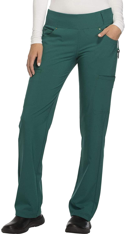 CHEROKEE iflex Mid Rise Straight Leg Pull-on Pant, CK002, XL, Hunter Green