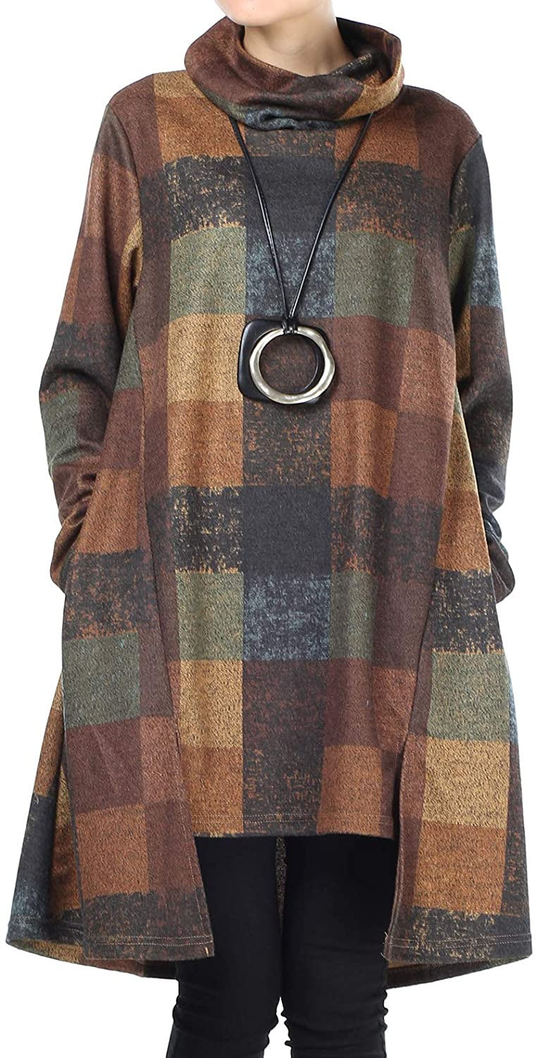 Mordenmiss Women's Checked Plaid Tunic Tops Turtleneck Shirt Dress with Pockets