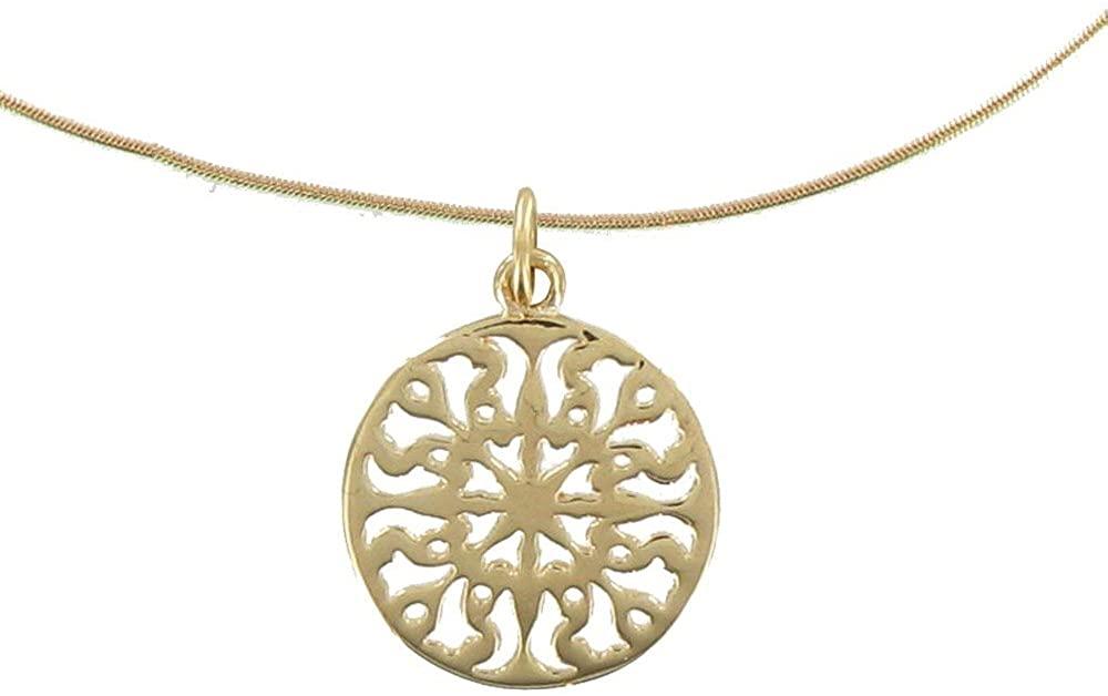 Les Poulettes Jewels - Gold Plated Necklace Round Arabesque - Size 40 cm