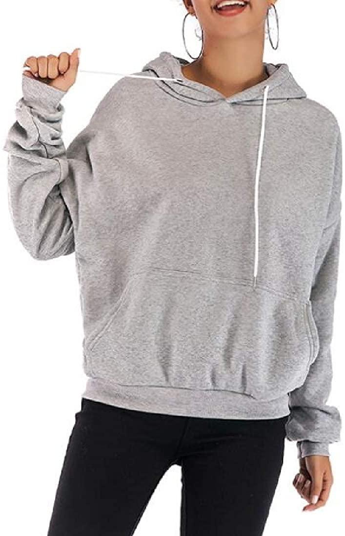 Mstyle Women Sweatshirt Solid Plus Size Loose Fit Drawstring Pullover Hoodies Sweatshirt Grey S