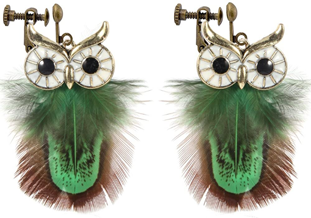 Clip On Earrings Cute Owl Green Feather Earrings Dangle Delicate Gold Plated Fashionable Casual Gift