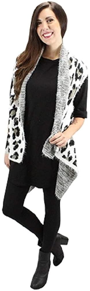 Sunshine & Rodeos Cheetah Leopard Womens Winter Fall Open Vest Top