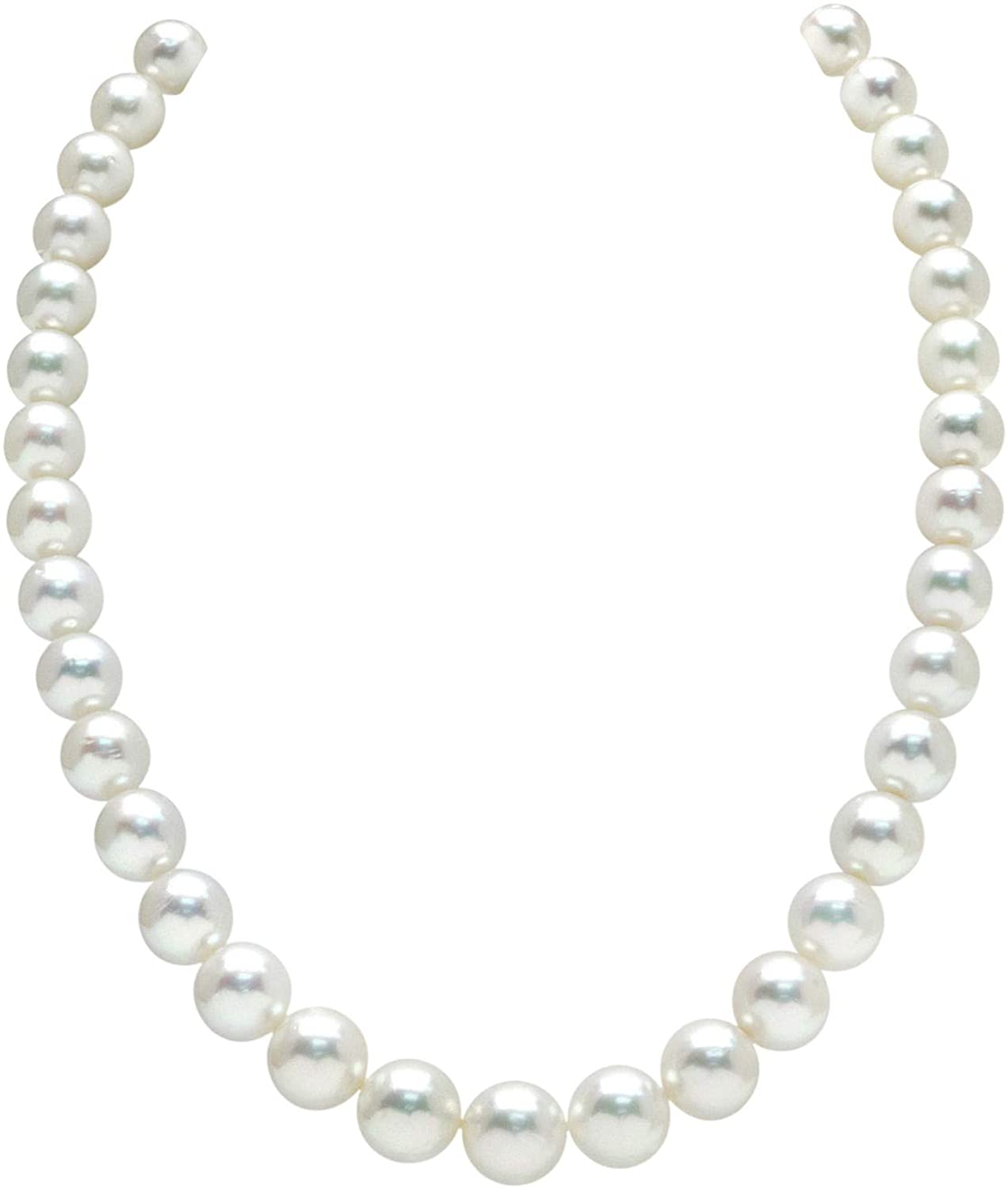 THE PEARL SOURCE 14K Gold 9-11mm Round Genuine White South Sea Cultured Pearl Necklace in 17