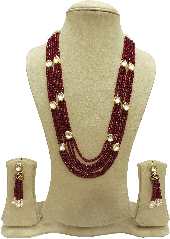 BabosaSakhi Traditional Kundan Ruby Red Onyx Bead String Ethnic Necklace