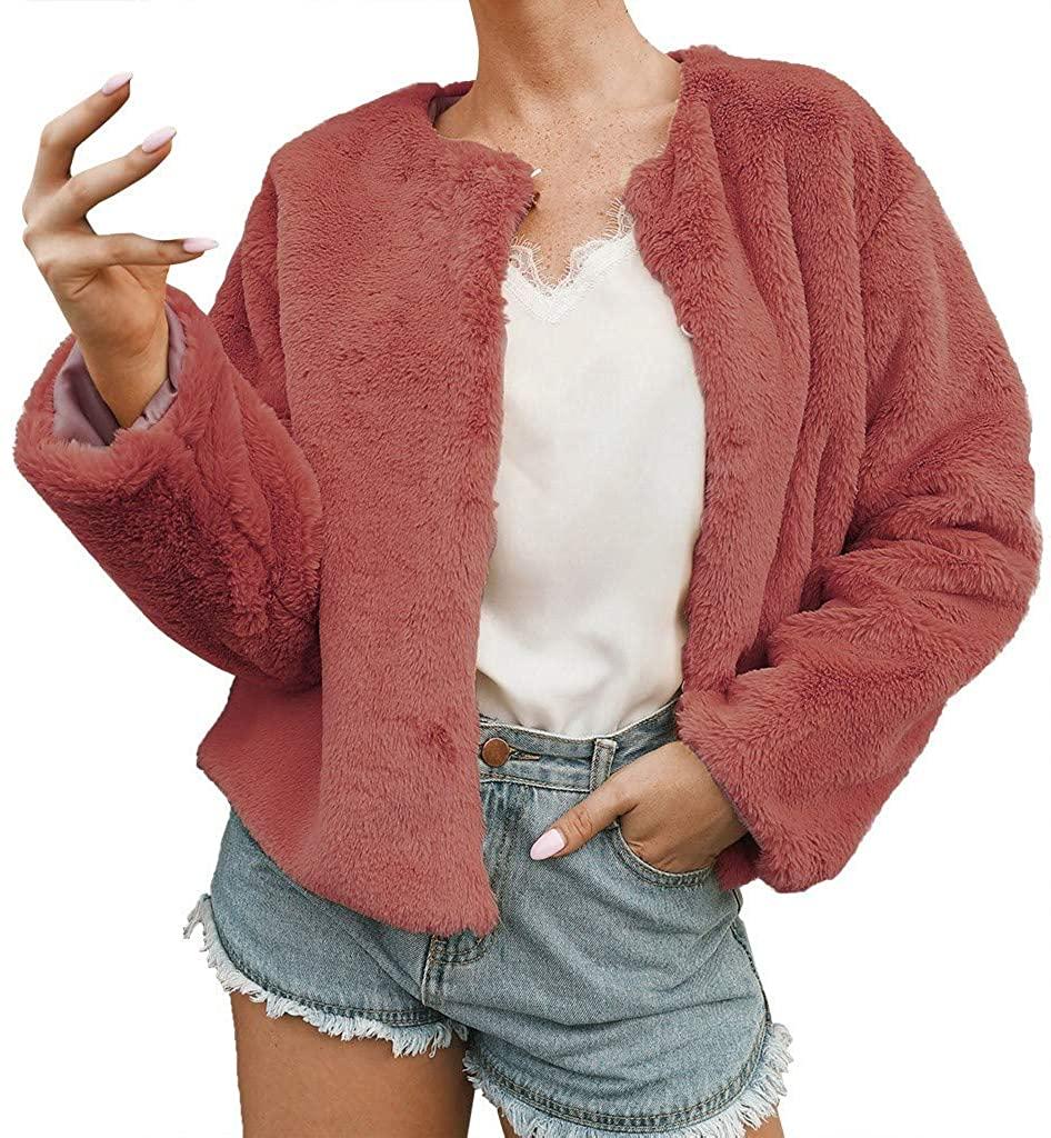 StyleV Womens Ladies Warm Faux Fur Coat Short Jacket Winter Solid Outerwear Fuzzy Fleece Open Front Coat