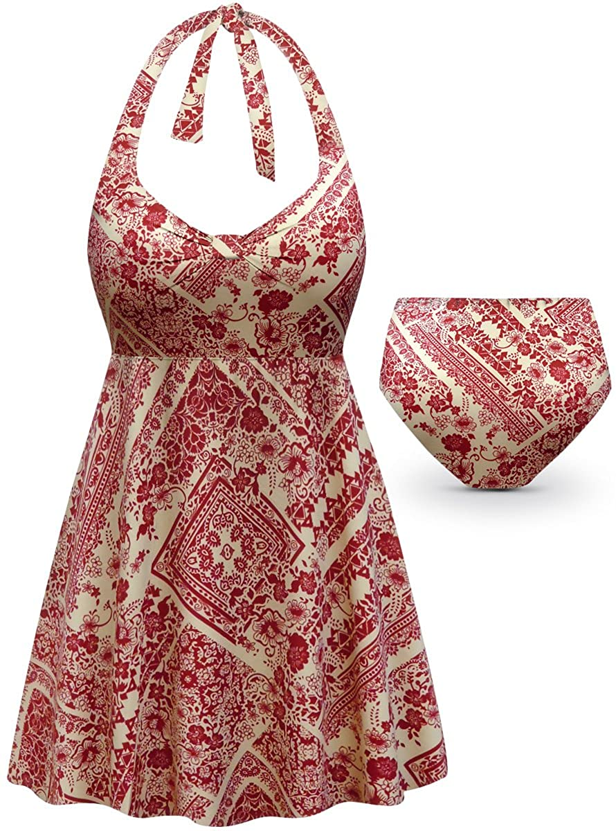 Crimson & Tan Floral Print 2-PC Halter Style Plus Size Swimdress