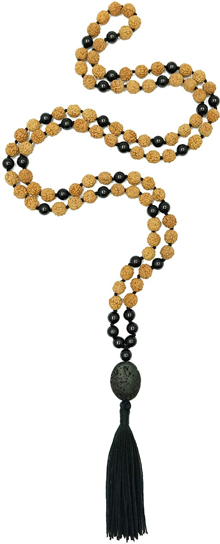 Healing Stone Rudraksha Mala, 108 Beads 7mm