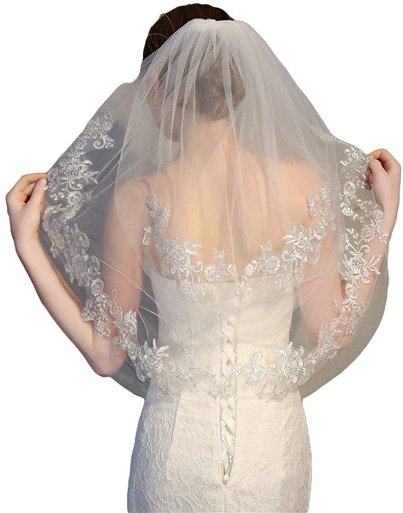 2t Short Lace Wedding Veils Blusher veil for Bride with Metal Comb
