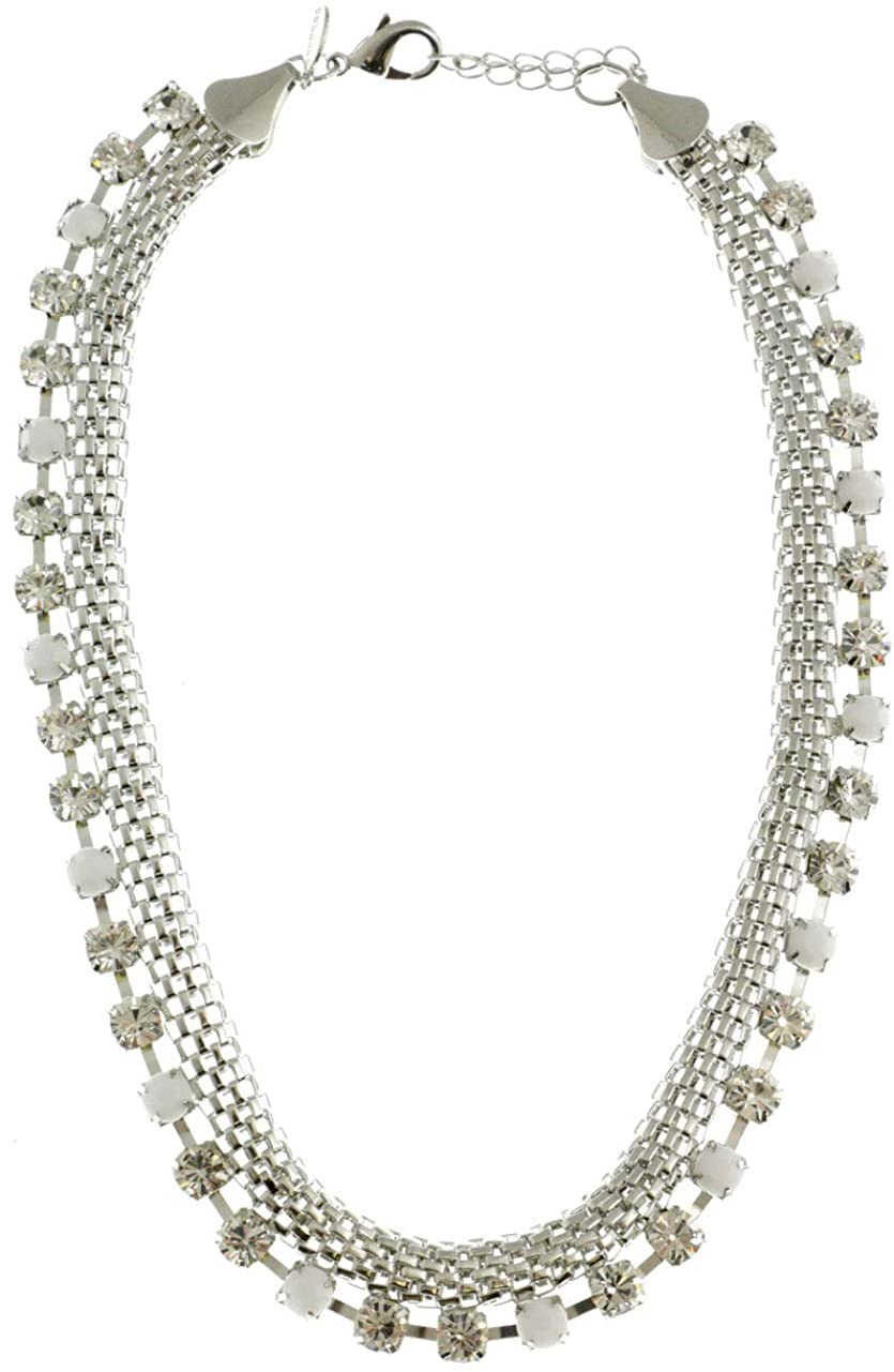 Mi Amore Adjustable Collar-Necklace Silver-Tone/White