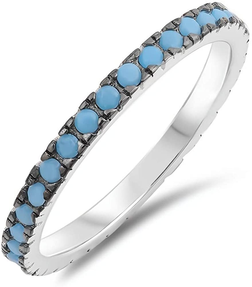 Glitzs Jewels 925 Sterling Silver Stackable Ring (Blue/Green)   Jewelry Gift for Women
