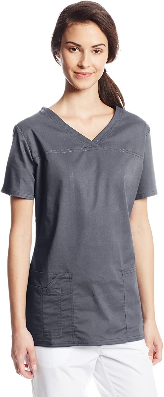 CHEROKEE Women's Workwear Core Stretch V-Neck Scrubs Shirt, Pewter, Small