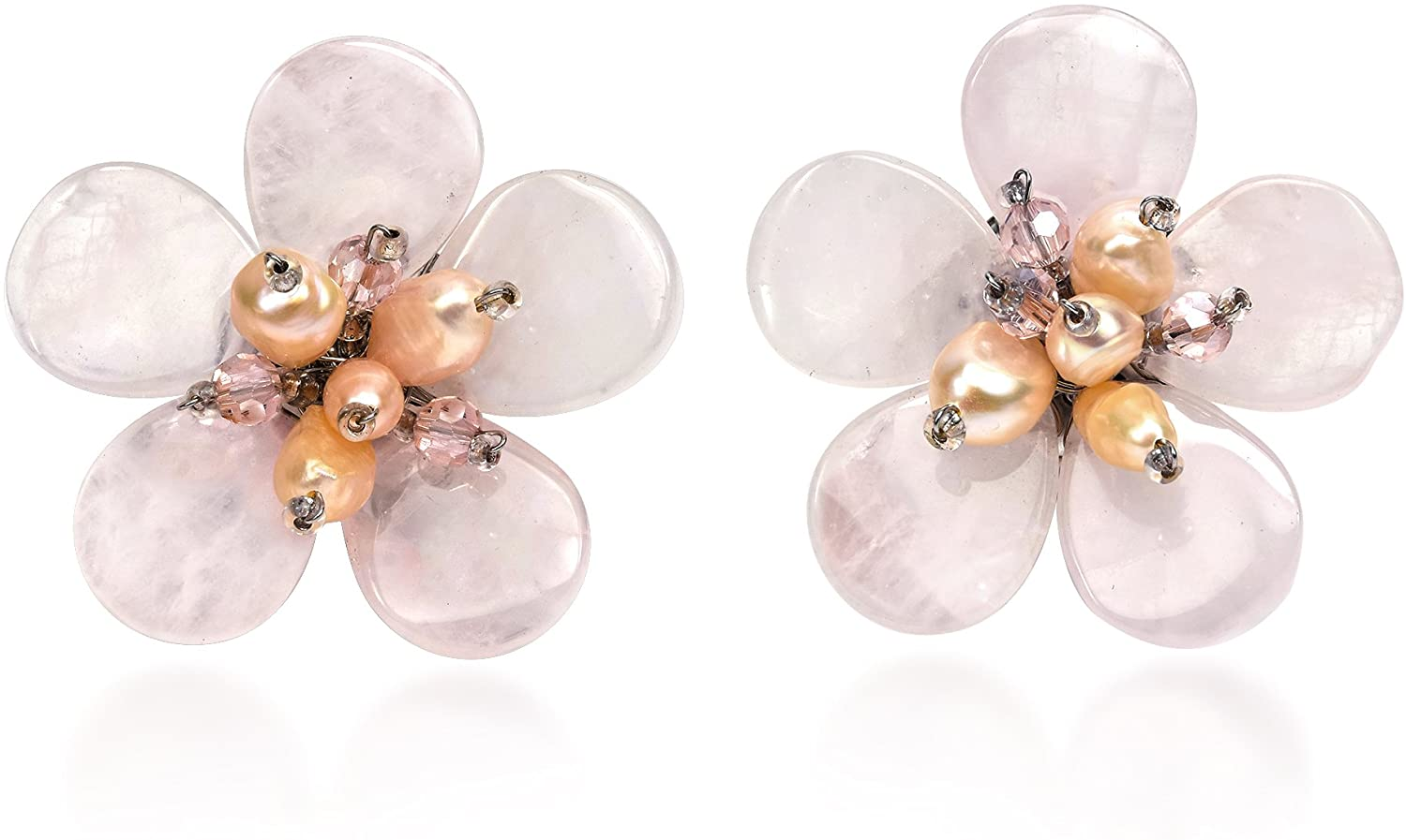 Romantic Tropics Pink Glass & Cultured Freshwater Pearl Flower Clip On Earrings