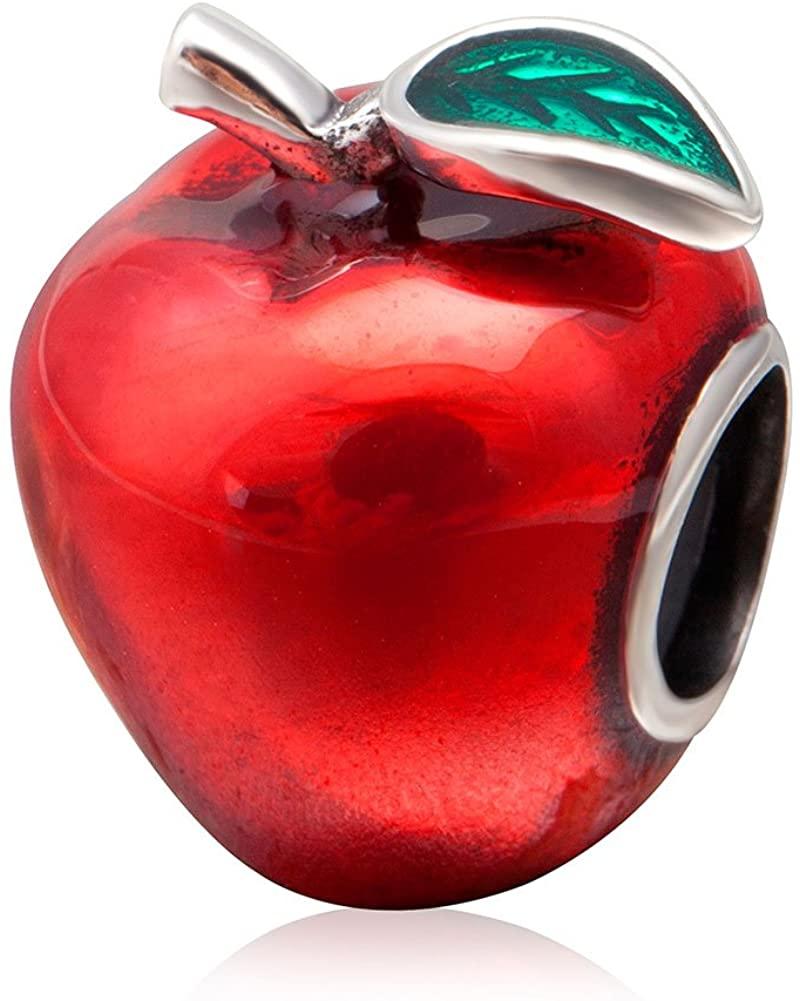 Red Apple Teacher 925 Sterling Silver Fruit Peace Christmas Charm Beads Fit European 3mm Bracelets