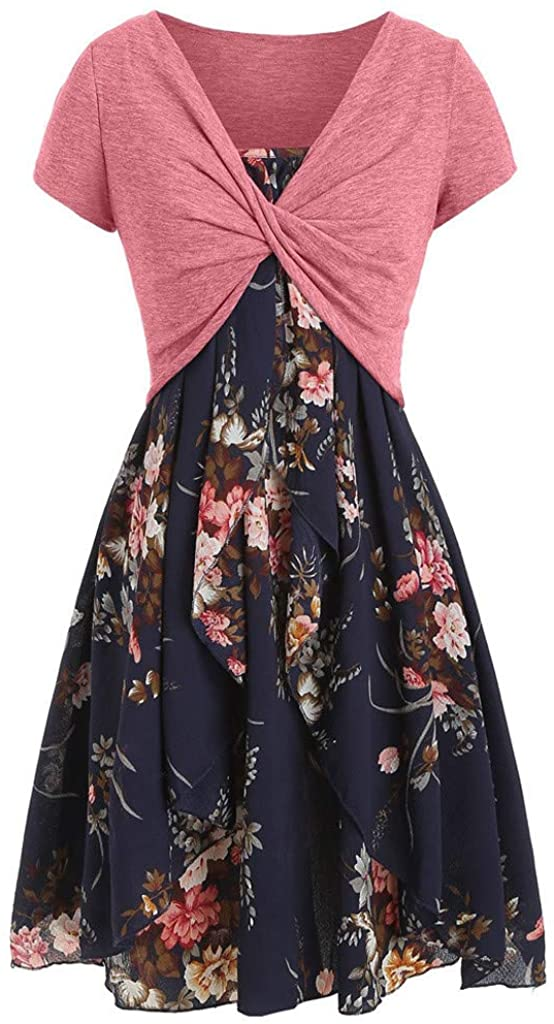 Asibeiul Summer Women Casual Cami Flower Dress Solid Color Top Set Skin Friendly Soft Clothes