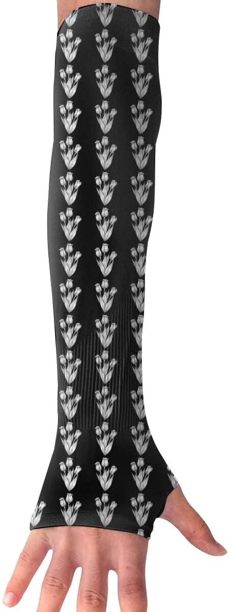 KLQ Tulip Flowers Silhouette Unisex Arm Sleeves Sun Protection Glove Sports Sleeve