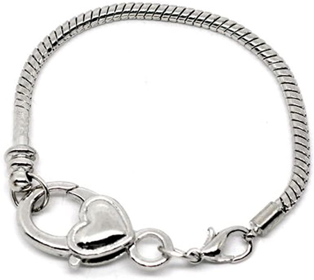 Heart Lobster Clasp Charm Bracelet Silver Plated Fits Pandora, Biagi, Troll, Chamilia, Kay's Beads Charms. Available All Size Drop Down Menu (7.75 Inches)