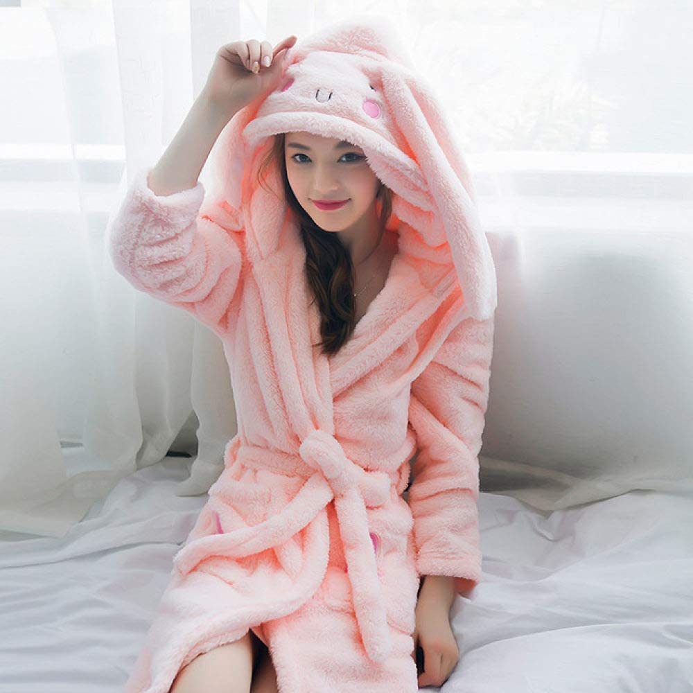 llwannr Winter Robe New Coral Velvet Night Dressing Gown Female Winter Warm Bathrobe Women Cute Cartoon Sweet Princess Girl Bath Robe,Orange Pink,M