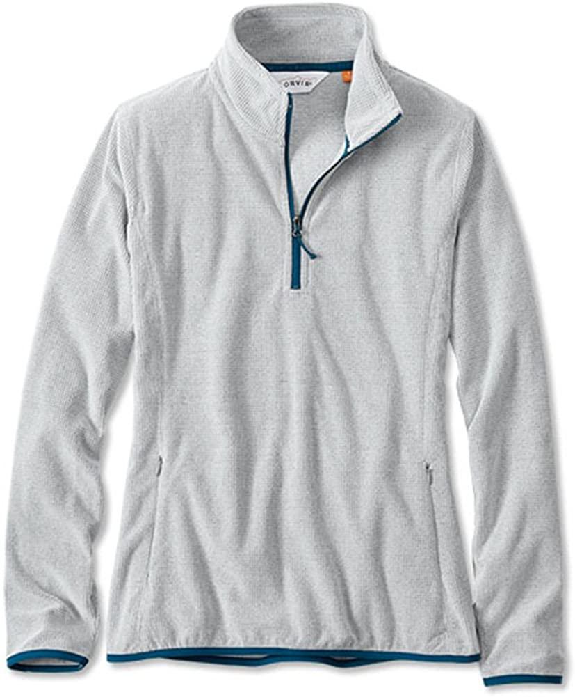 Orvis Women's Quarter-Zip Microgrid Fleece, Light Gray, Large