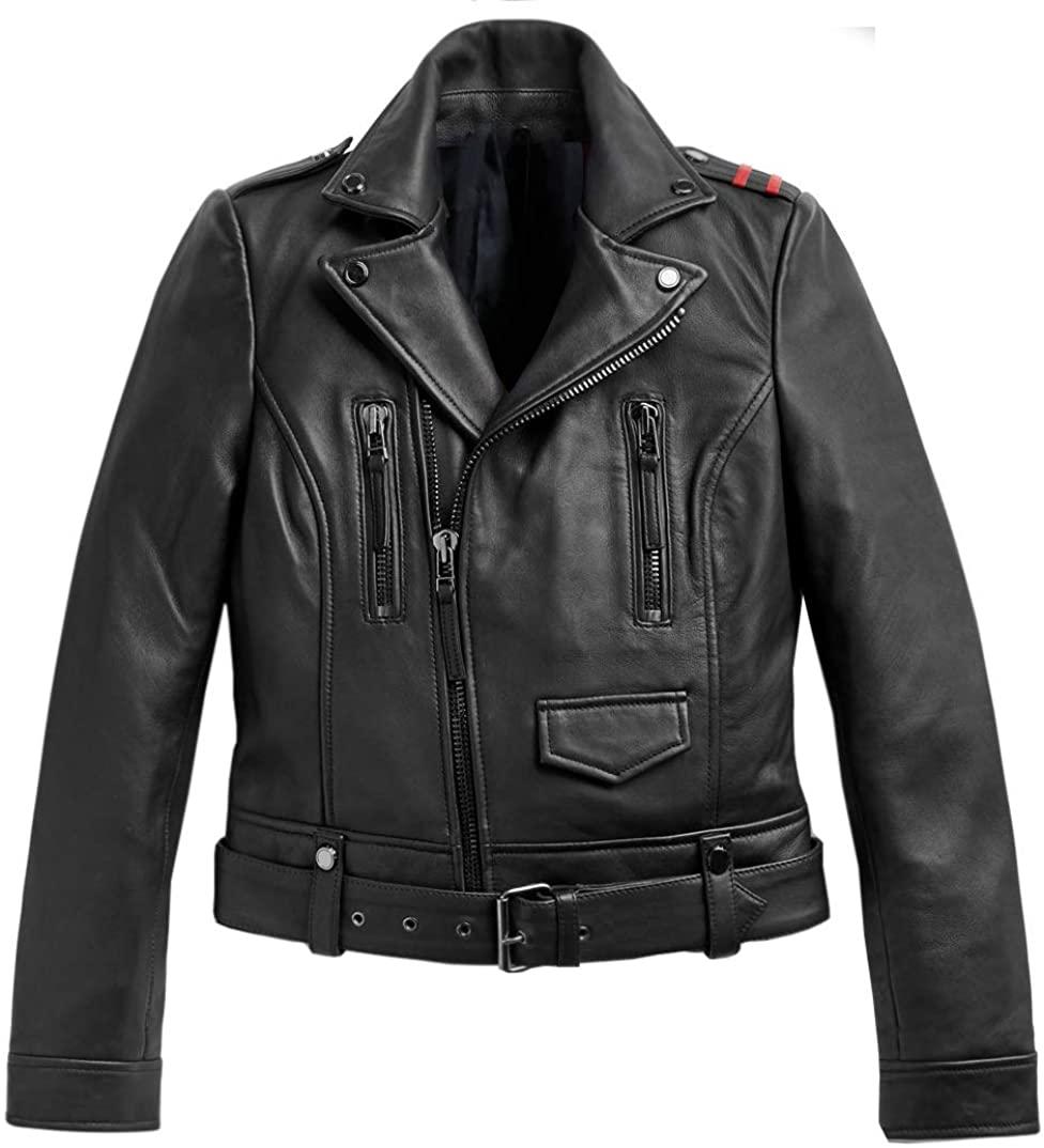 UGFashions Womens Premium Classic Tartan Multi Zipper Belted Biker Brando Black Real Leather Jacket
