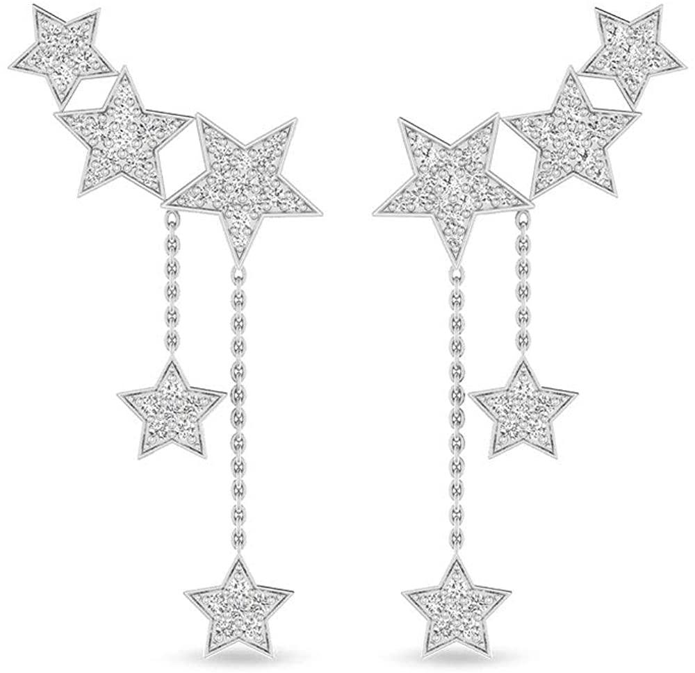 Star Ear Cuff IGI Certified Diamond Drop Earring for Women, 14k White Gold Star Diamond Chain Earrings, Unique Studded Screw Back Earring with IJ-SI Color Clarity