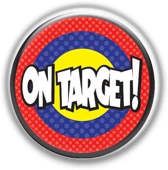 On Target : Superheros, Pinback Button Badge 1.99 Inch (38mm)