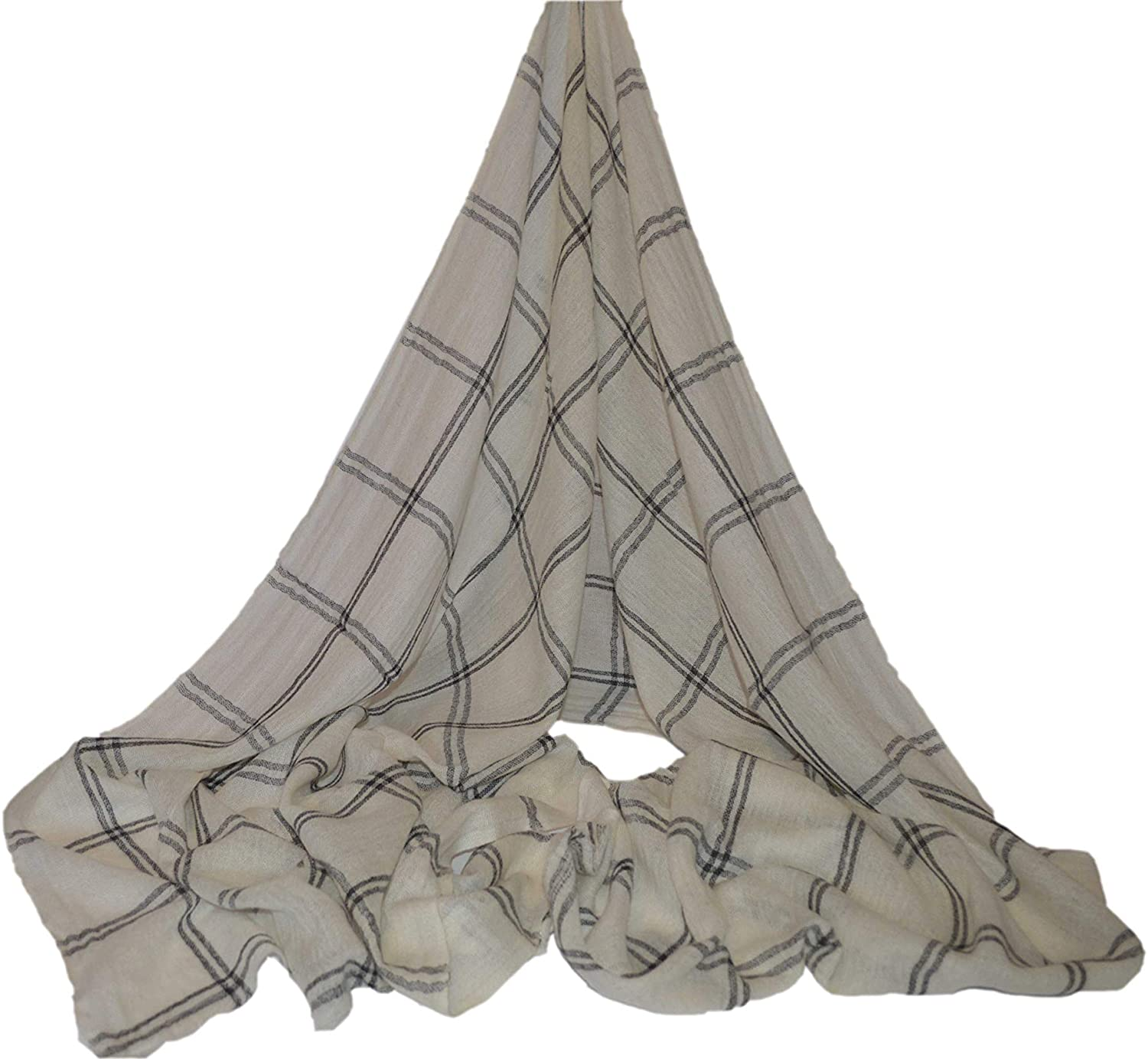 Cashmere Scarf Shawl Stole Wrap Throw 100% Nepalese Pashmina (Back Square Boarder with white background)